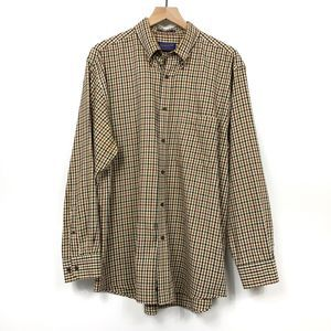 Pendleton Check Cotton Blend Button Down Shirt L